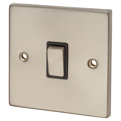 Click Scolmore 20A Ingot 1 Gang DP Switch - Satin Chrome with Black Inserts