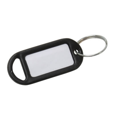 Key Ring Tag - 48 x 21mm - Black - Pack 10