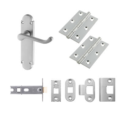 Aglio Victorian Summer Handle Door Kit - Latch Set - Satin Chrome