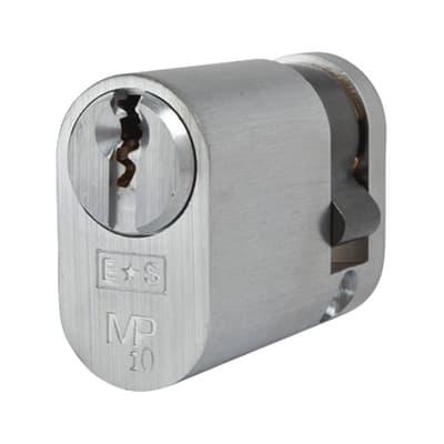 Eurospec Oval Single Cylinder - 10 Pin - 32 + 10mm - Satin Chrome - Keyed Alike