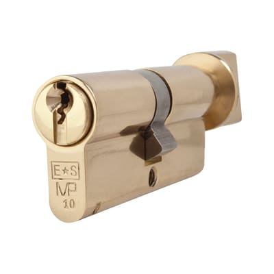 Eurospec 10 Pin 70mm Euro Thumbturn Cylinder - 35mm [Turn] + 35mm - Polished Brass - Keyed to Diffe