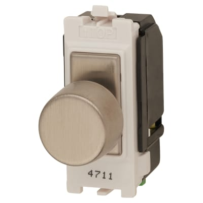 Contactum 2 Way 60/400 Grid Switch - Brushed Steel with White Inserts