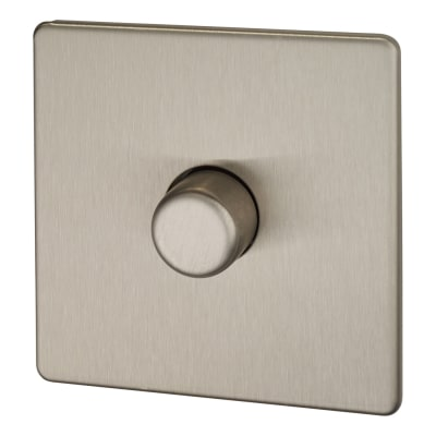 BG Screwless Flatplate 400W 1 Gang 2 Way Dimmer Switch - Brushed Steel
