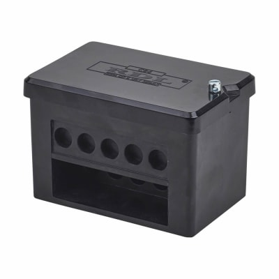 100A Double Pole 5 Way Connector Block - Black