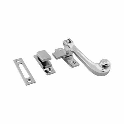 Hampstead Solid Curl Hook & Plate Window Fastener - Polished Chrome