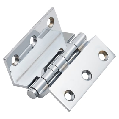 Cranked Ball Bearing Hinge - 64 x 2.5mm - Polished Chrome - Pair