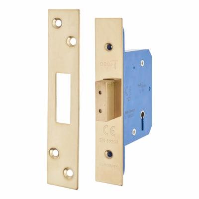 A-Spec Architectural 5 Lever Deadlock - 65mm Case - 44mm Backset - PVD Brass