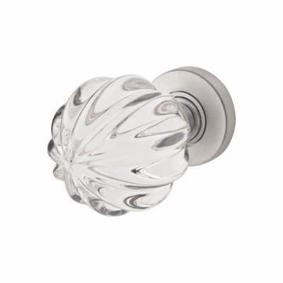Jedo Floral Pattern Door Knob - Satin Chrome