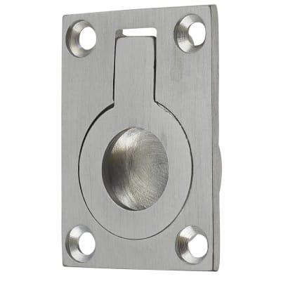 Rectangular Flush Ring Pull - 38 x 27mm - Satin Chrome