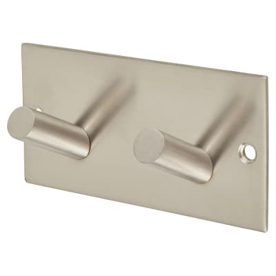 Jedo Square Horizontal Hook Plate - 90 x 45mm - Satin Stainless Steel