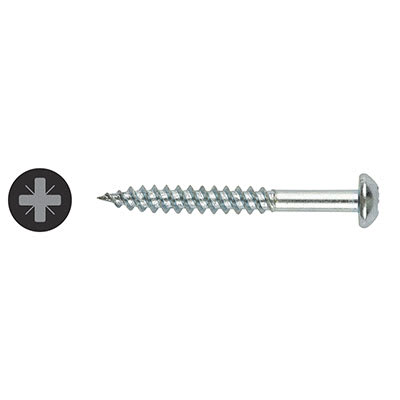TIMco Round Head Twin Thread Pozi Screw - 8 x 2