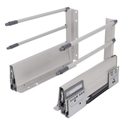 Motion 204mm Drawer Runner Pack - Soft Close - Includes 2 x Pairs of Rods - 550mm - Grey