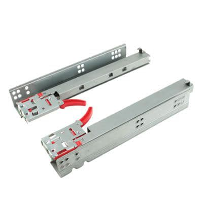 Motion Base Mount Drawer Runner - Soft Close - Single Extension - 400mm - 100 Pairs - Zinc