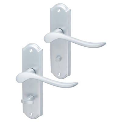 Elan Turin Door Handle - Bathroom Set - Satin Chrome