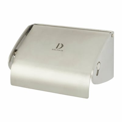 Dolphin Single Toilet Roll Holder with Flap - 70 x 135 x 98mm - Stainless Steel