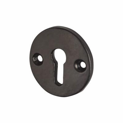 Traditional Round Escutcheon - Antique Black Iron