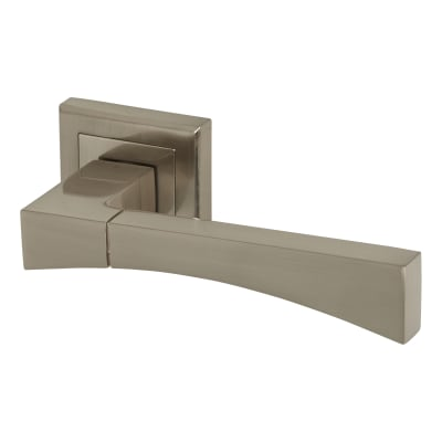 Elan Salerno Lever Door Handle on Rose - Satin Nickel