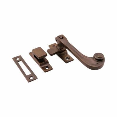 Hampstead Solid Curl Hook & Plate Window Fastener - Soft Antique Bronze