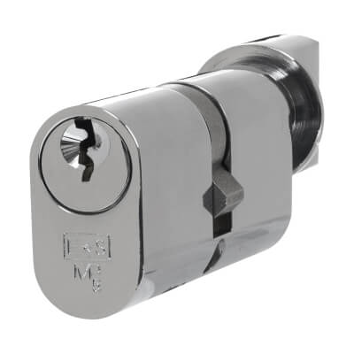 Eurospec MP5 - Oval Cylinder and Turn - 35[k] + 35mm - Polished Chrome  - Keyed Alike