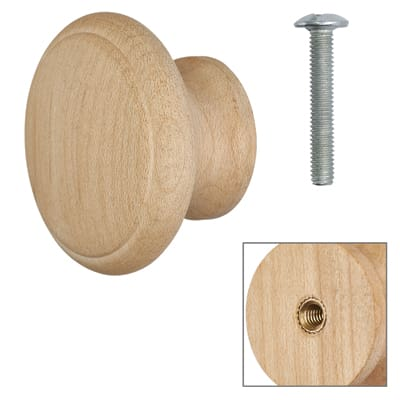 Cabinet Knob - Raw Maple - with Bolt & Insert - 50mm - Pack of 5