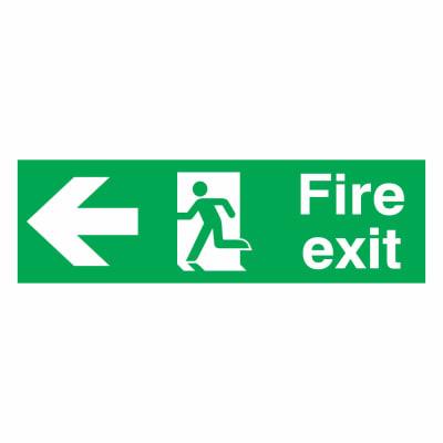Fire Exit Left - 150 x 450mm - Rigid Plastic