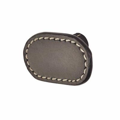 Rounded Rectangular Leather Cabinet Knob - Plain - Stitched - Black