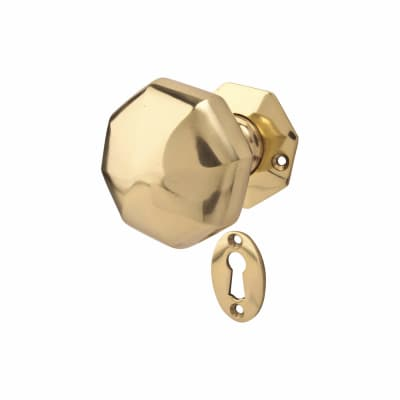 Old English Heavy Pattern Hex Door Knob - Polished Brass