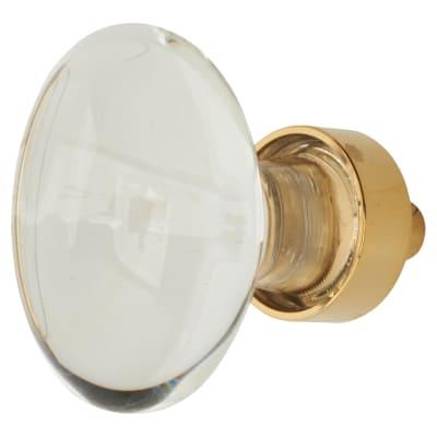 Aglio Oval Glass Cabinet Knob - 40mm - Polished Brass