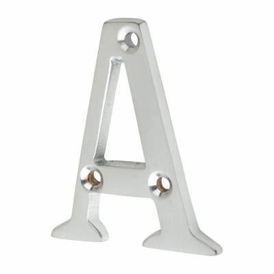 53mm Screw Fixed Letter - A - Satin Chrome