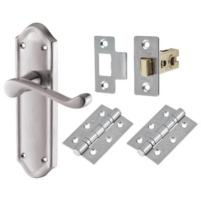 Aglio Ashmead Handle Door Kit - Latch Set - Satin Chrome