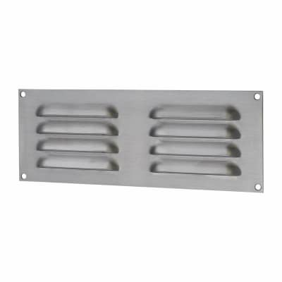 Hooded Louvre Vent - 242 x 89mm - 3344mm2 Free Air Flow - Satin Stainless