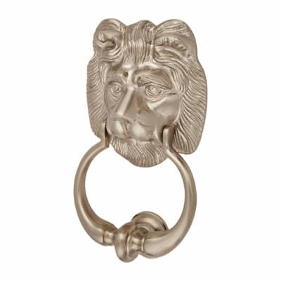 Morello Lion Door Knocker - 177 x 102mm - Satin Nickel