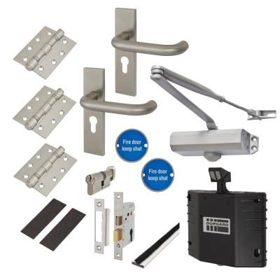 Light Duty Lever on Backplate Fire Door Kit with Hold Open Device - Satin Stainless Steel