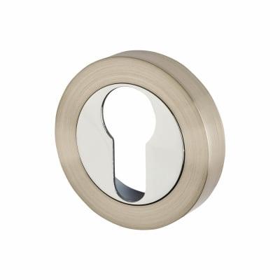 Touchpoint Escutcheon - Euro - Satin Nickel / Polished Chrome