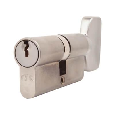 UNION® J2X44 Cylinder - Euro Double & Large Turn - 32[k]* + 32mm - Satin Chrome