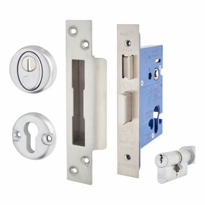 A-Spec BS8621 Euro Sashlock & Thumbturn - 78mm Case - 57mm Backset - Satin Stainless