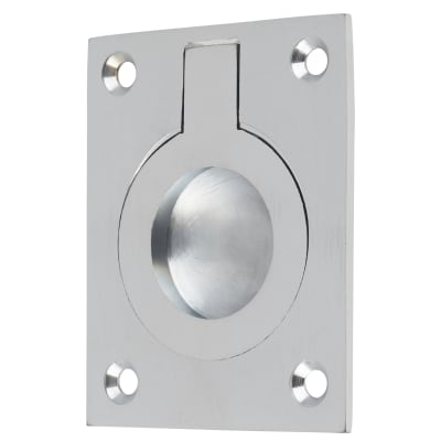 Rectangular Flush Ring Pull - 63 x 50mm - Satin Chrome