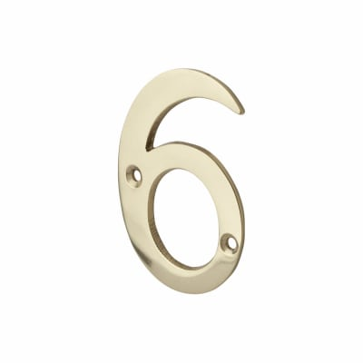 76mm Numeral - 6 - Polished Brass