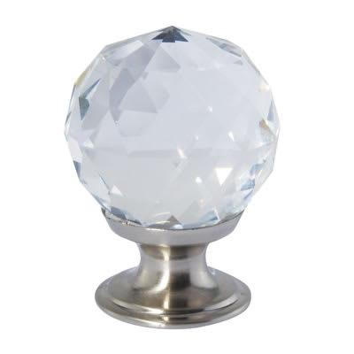 Aglio Cut Glass Cabinet Knob - 30mm - Satin Nickel