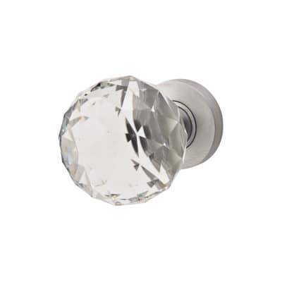 Jedo Cut Glass Door Knob - Satin Chrome