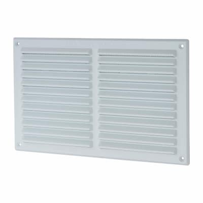Louvre Vent with Flyscreen - 271 x 171mm - 13300mm2 Free Air Flow - White Plastic