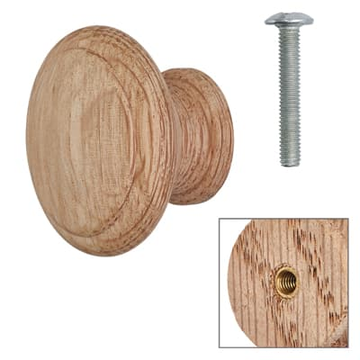 Cabinet Knob - Raw Light Oak - with Bolt & Insert - 40mm - Pack of 5