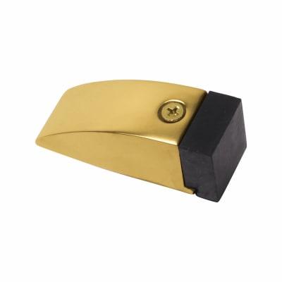 Wedge Floor Mounted Door Stop - 76mm - PVD Brass
