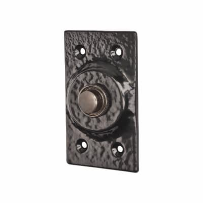 Colonial Plain Bell Push - 75 x 43mm - Metalized Antique Black Iron