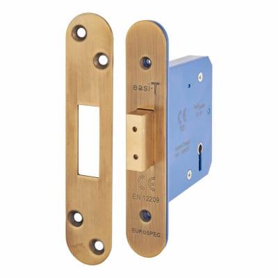 A-Spec Architectural 5 Lever Deadlock - 78mm Case - 57mm Backset - Radius - Florentine Bronze
