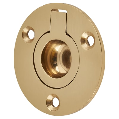 Round Flush Ring Pull - 45mm - Polished Brass