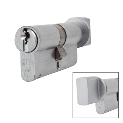 Eurospec MP10 - Euro Cylinder and Turn - 32[k] + 32mm - Satin Chrome  - Keyed to Differ