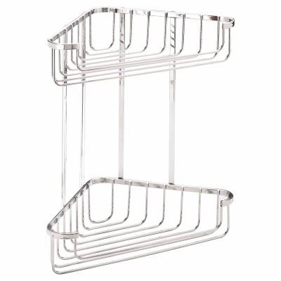 Croydex Wirework Shower Large Corner Basket - Two Tier - Mild Steel