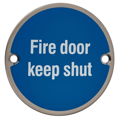 Fire Door Keep Shut - 75mm - Satin Stainless Steel