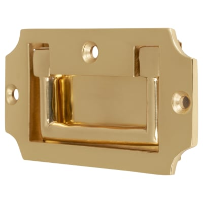 Flush Military Handle - 45 x 89mm - Polished Brass